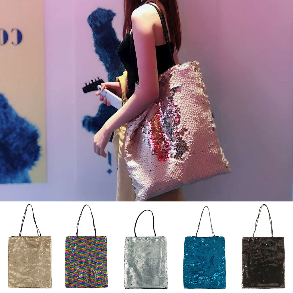Sequins Tote For Women Ladies Shopper Bag Fashion Casual Reusable Shopping Bag Large Capacity Shoulder Bag Handbags 2020