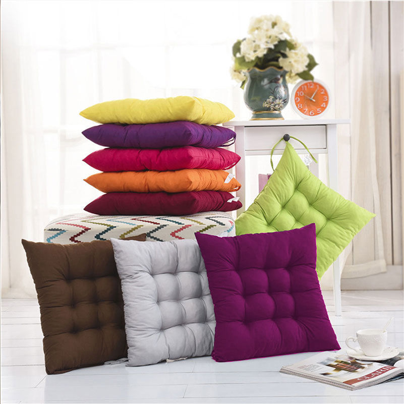 Soft Seat Pad Dining Room Garden Kitchen Chair Cushions With Tie On 40*40cm 6 Colors Orange/ Gray/ Coffee/ Green/ Purple/ Red