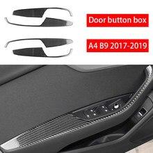 Carbon fiber car interior decoration, door armrest panel frame decoration, Suitable For Audi A4 B9 2017 2018 2019 car stickers,