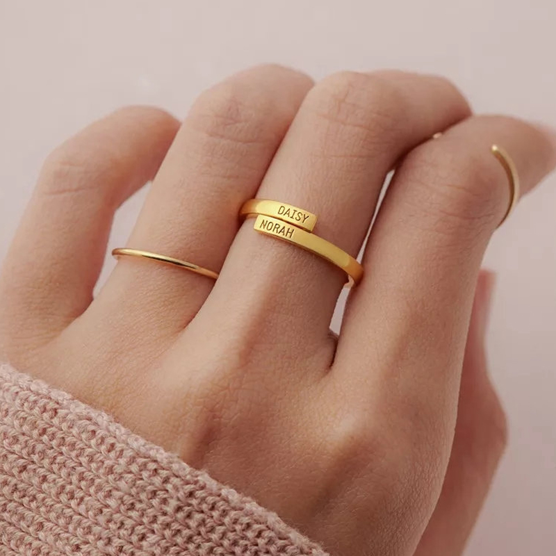 Personalized Gift For Her Stacking Rings For Women Letter Ring Personalized Initial Ring Gold Ring Bridesmaid Gift Promise Ring For Her