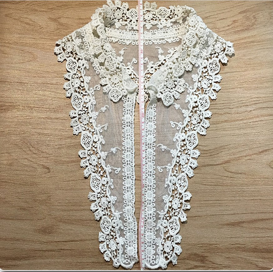 Water-soluble Pure Cotton Mesh Embroidered Collar Finished Shirt Lace Embroidered Collar