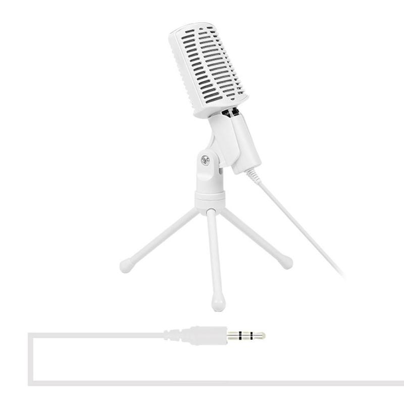 Professional Condenser Microphone 3.5mm Jack AUX Wired Portable Desktop Tabletop Mic With Tripod Stand For PC Computer Broadcast