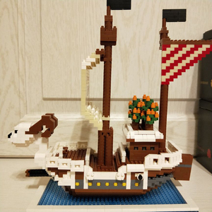 Image 3 - ZMS construcción de un barco de piratas en 3D para niños, One Piece, Luffy, Going, Merry, barco, modelo, DIY, Mini bloques de diamante, juguete de construcción, sin caja, 3445