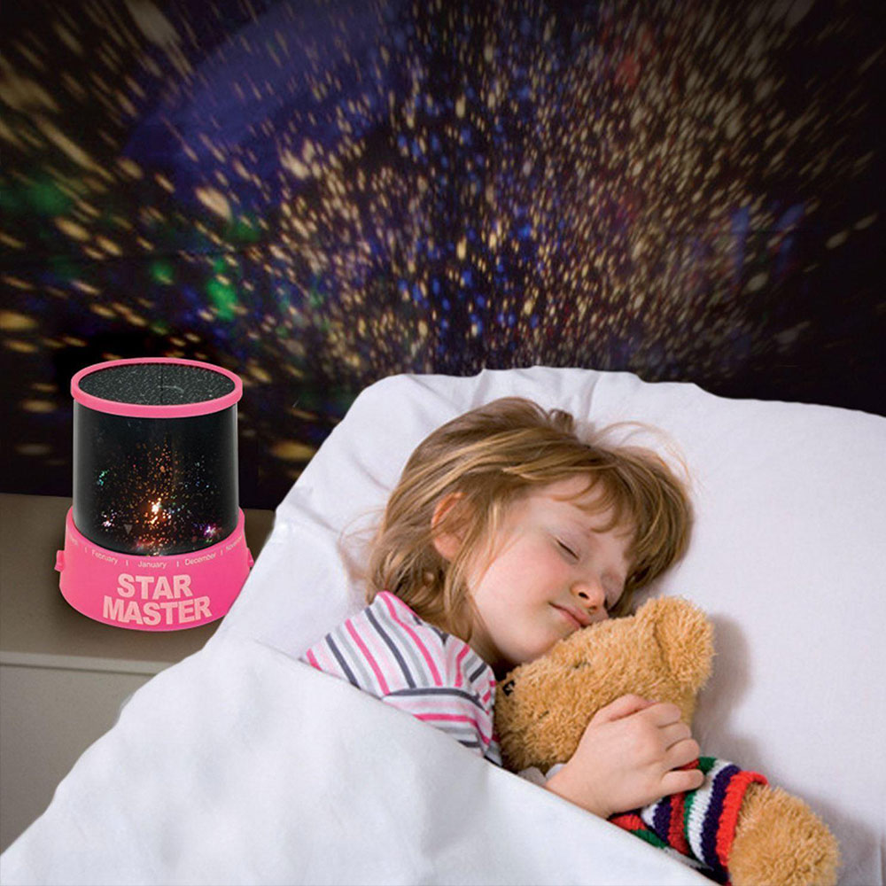 Projector Lamp Romantic Star Sky Novelty Lighting Night Light Projector LED Master Pink Christmas Gift Cosmos Chidren Sleep Kid