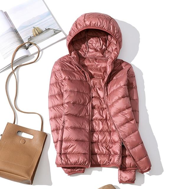Blouson d'automne en duvet en velours pour femmes, blouson d'automne basique, manteaux à capuche en velours pour femmes, collection hiver 2020 4