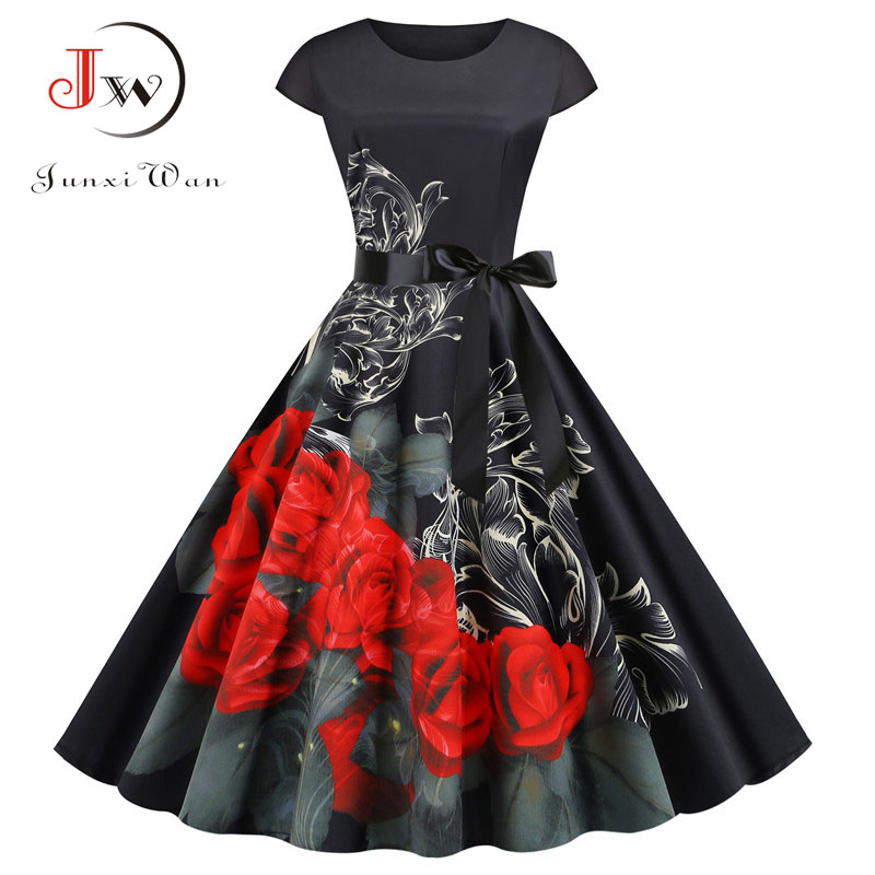 Women Summer Vintage Dress Robe Femme Short Sleeve Floral Print O-neck Big Swing Elegant Party Dress Plus Size Black Vestidos