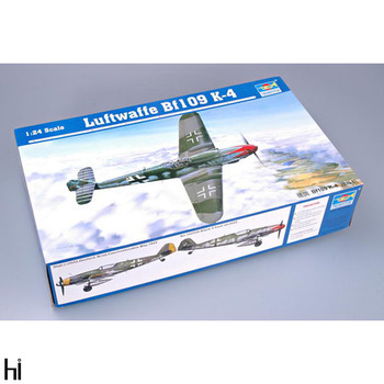 Trumpeter 02418 1/24 German Luftwaffe Bf-109 K-4 Fighter Plane Aircraft Military Assembly Plastic Model Building Kit image