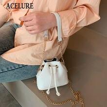 Sacos de compras de couro do plutônio do jacaré da cor sólida de acelure pequena corda da cubeta para a forma feminina