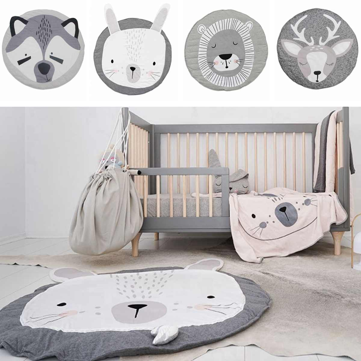 Baby Kids Soft Cotton Round Animal Game Gym Activity Play Mat Crawling Blanket Baby Infant Room Decoration Floor Rug Carpet