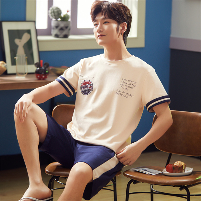 Men Summer New Korean Cotton Pyjamas Pajamas Comfortable Casual Short Sleeve Shorts Thin Suit Men Pajama Sets Mens Pajama Set