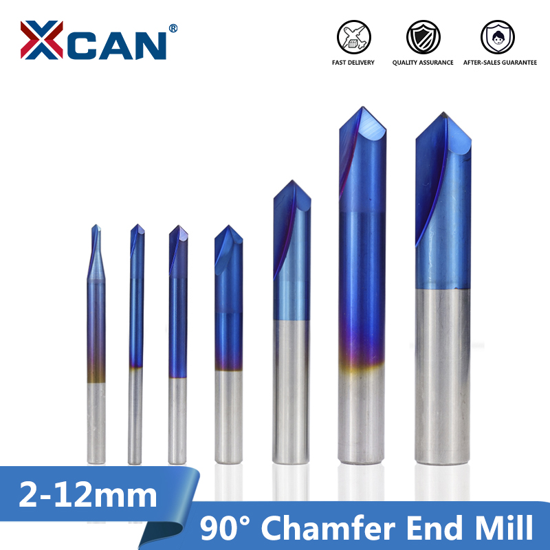 XCAN 1pc 2-12mm 90 Degree Nano Blue Coated Chamfer End Mills CNC Machine Router Bit 2 Flutes End Milling Cutter Carbide End Mill