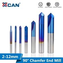 XCAN fraise dextrémité à chanfrein, à revêtement Nano bleu, 2 12mm, 90 degrés, CNC Machine, fraise à 2 flûtes, 1 pièce