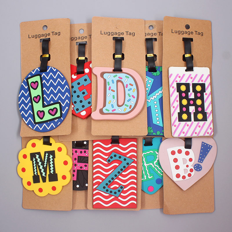 Newest Cute 26 Letters Luggage Travel Accessories Tag Silica Gel Suitcase ID Addres Holder Baggage Boarding Tag Portable Label