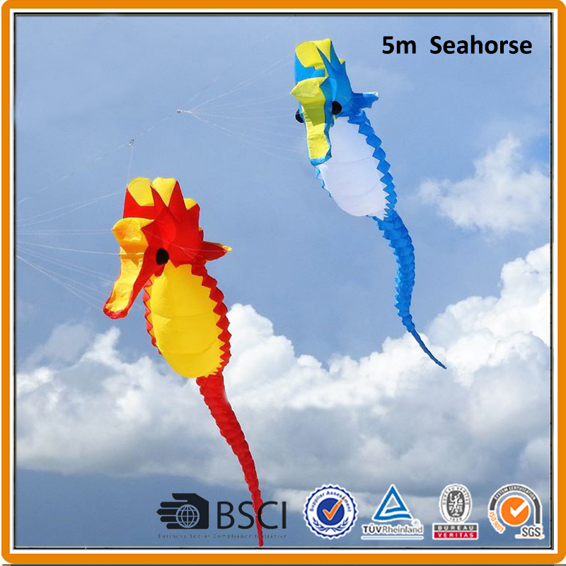 Livraison gratuite 5m hippocampe doux cerf-volant ripstop nylon jouets de plein air pendentif animal cerf-volant roue pieuvre albatros usine kaixuan cerf-volant