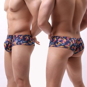 Image 5 - 6Pack Men Small Boxer Milk Silk Ginkgo Leaf Print Boxer Shorts Bulge Pouch Underpants Gay Panties Mens Underwear Boxers