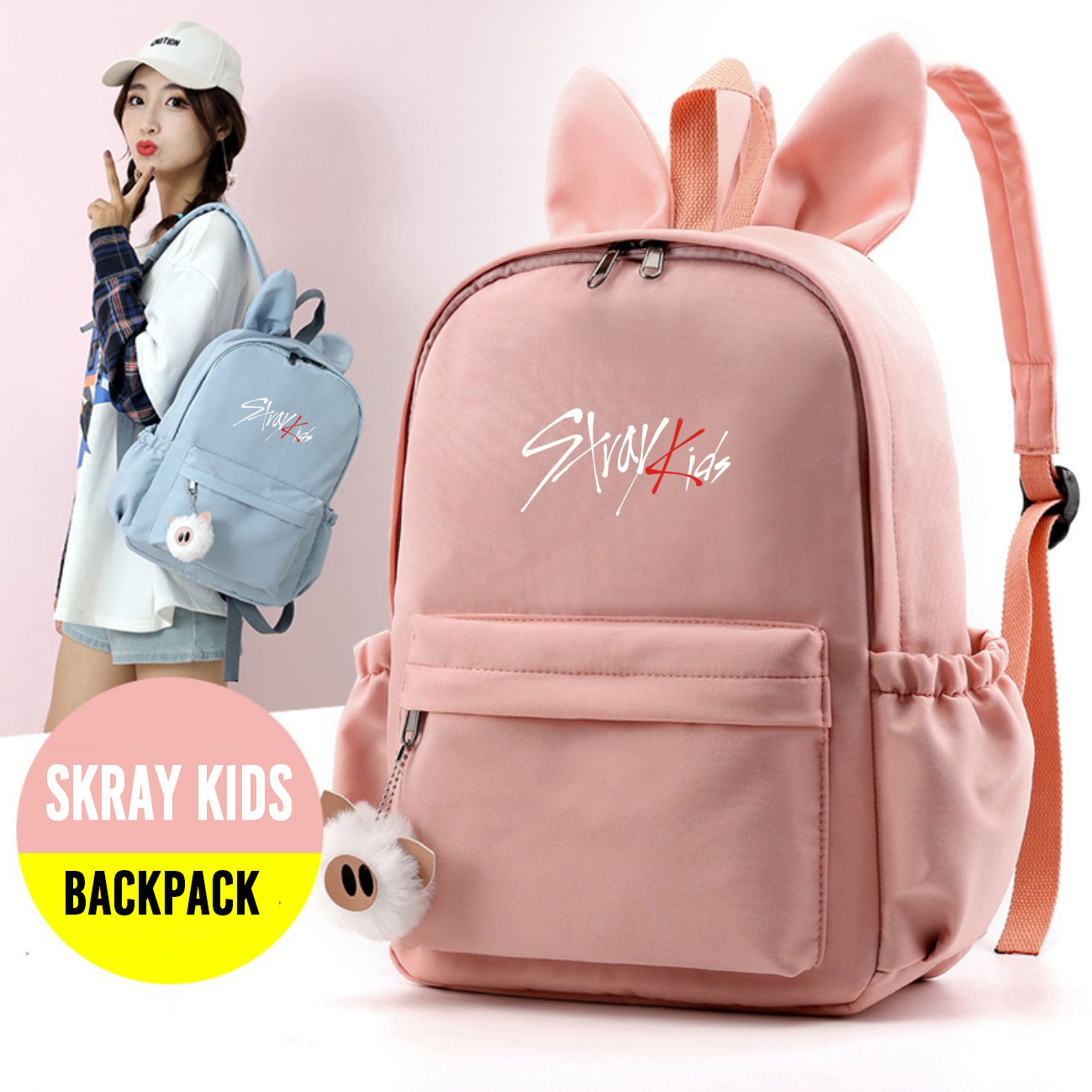 Kpop Stray Kids Backpack Cute Rabbit Ears Schoolbag Back To School Bag Kpop Stray Kids Stationery Set Supplies New Arrivals