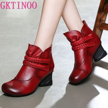 karinluna 2018 plus size 33 45 genuine cow leather boots women shoes square high heels best quality knee high boots shoes woman GKTINOO Autumn Shoes Woman Cow Leather Winter Shoes High Heels Ankle Boots Genuine Leather Handmade Retro Women Boots