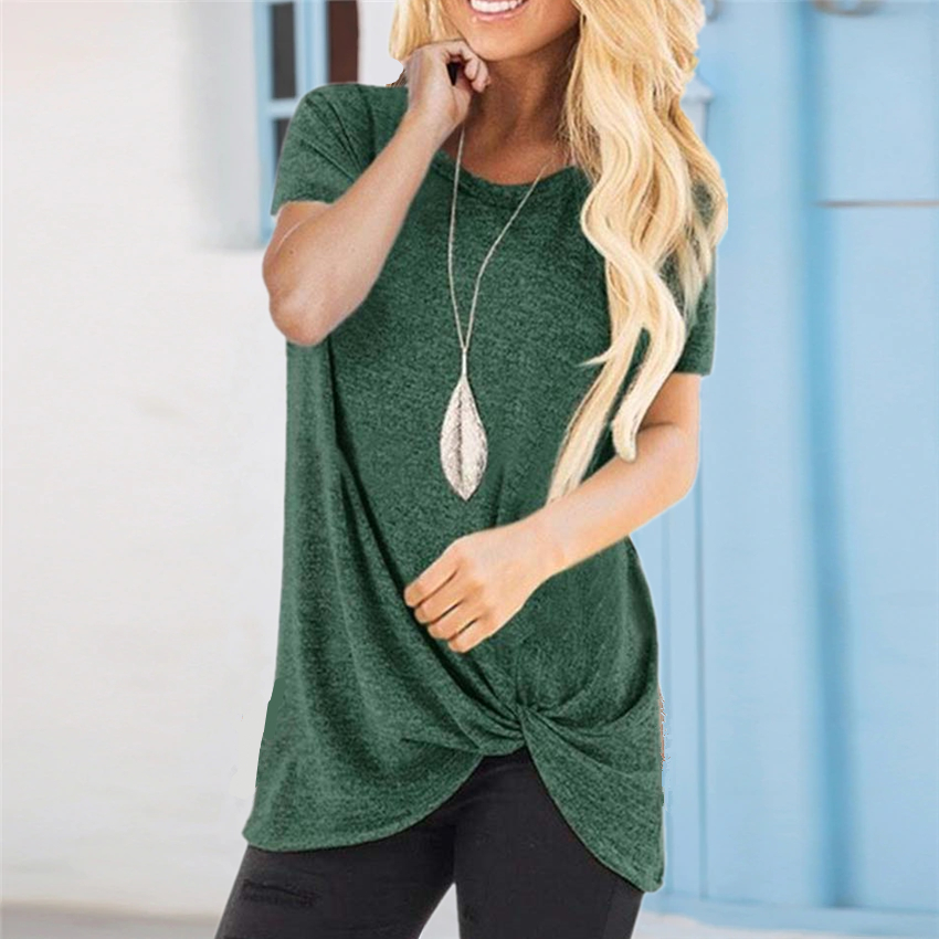 Solid T-shirt Women Summer Tie Tops Tee Casual Simple Short Sleeve Female Tshirt Large Size Women Clothes Camisetas Mujer