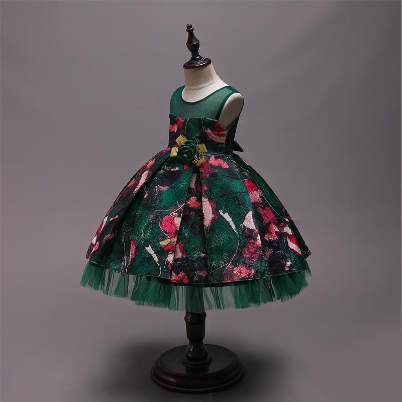 Hot Selling GIRL'S Gown Jacquard Printed Puffy CHILDREN'S Full Dress Medium-small Childrenswear Wedding Dress Princess Dress