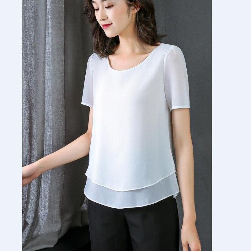 Женская шифоновая блузка с коротким рукавом и круглым вырезом