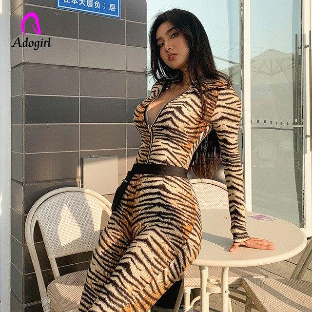 Turtle Neck Women Jumpsuit 2019 Autumn Ladies Sexy Tiger Skin Print Zipper Long Sleeve Jumpsuits Sportswear Overall Women Romper 1