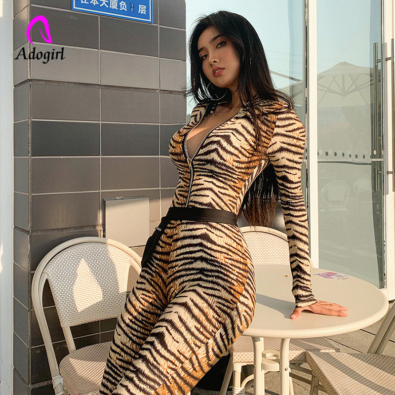 Turtle Neck Women Jumpsuit 2019 Autumn Ladies Sexy Tiger Skin Print Zipper Long Sleeve Jumpsuits Sportswear Overall Women Romper