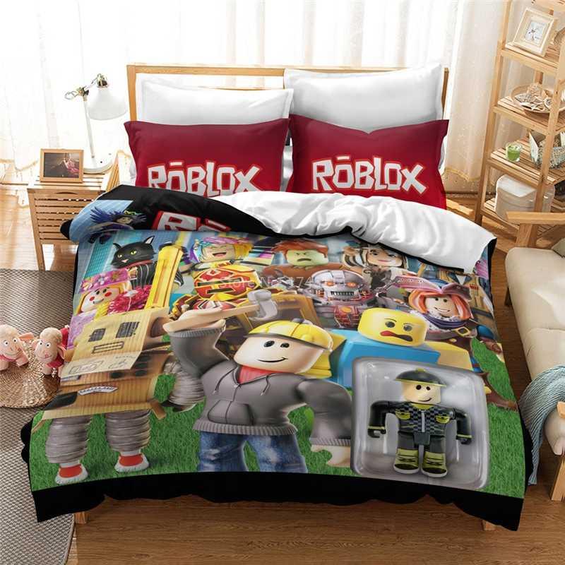 3D Roblox Diy Game Cartoon Beddengoed Set Dekbedovertrek Kussensloop Beddengoed Beddengoed Voor Kids Volwassenen Twin Volledige Queen king Size