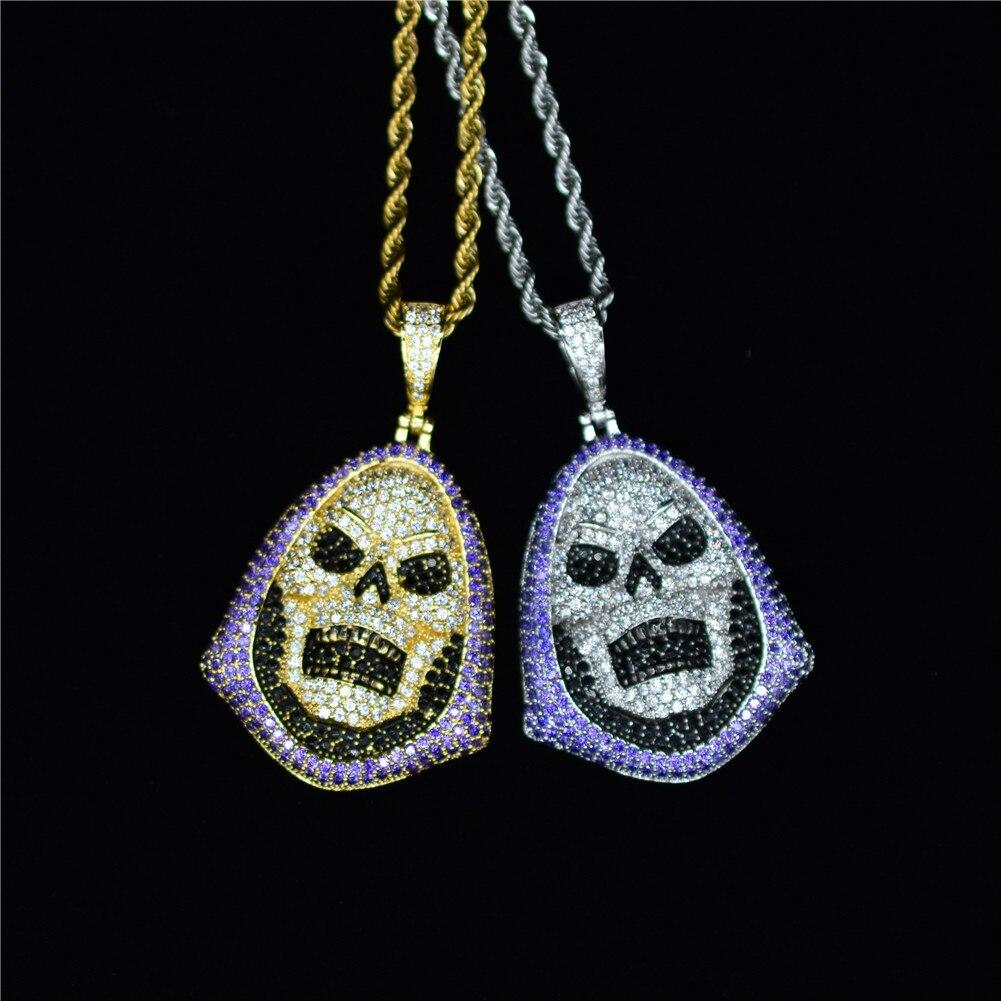 Punk sweat à capuche crâne violet pierre pendentif collier or argent AAA cubique zircone Hip Hop Rock bijoux avec chaîne de Tennis