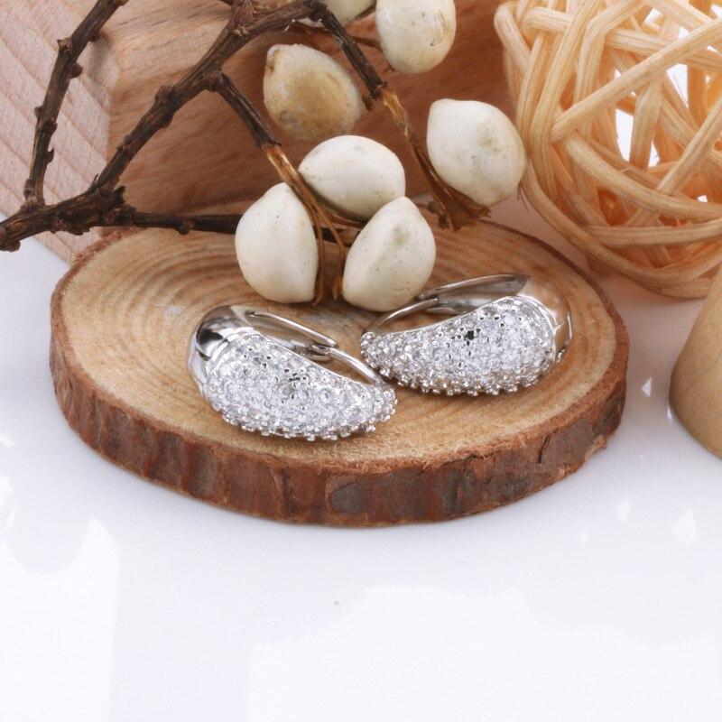 Brinco para as Mulheres Luxo Flor Forma Prata Cor 14k Branco Ouro Grupo Conjunto Zircônio Diamante Hoop Brincos S925