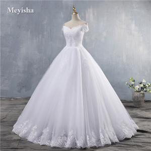 Image 3 - ZJ9143 2019 2020 חדש לבן שנהב אלגנטי כבוי כתף שמלות כלה עבור כלות תחתון תחרה מתוקה עם תחרה קצה בתוספת גודל