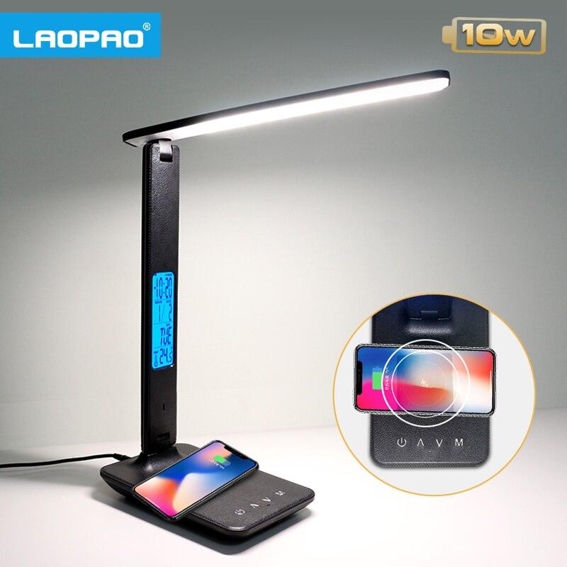 B/üro Memory-Funktion f/ür Lesen Uhr Schreibtischlampe LED mit 10W Wireless Charger und USB-Anschluss,LAOPAO Touch Control Tischlampe mit 3 Farb und 3 Helligkeitsstufen,Zeit Kinderzimmer Temperatur