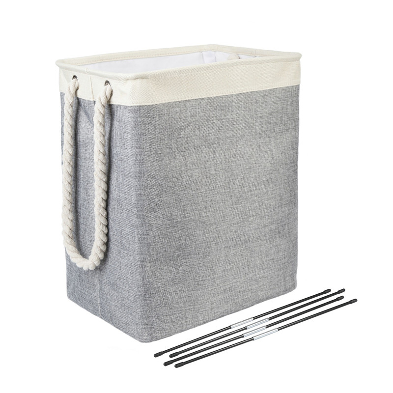 High Quality Foldable Laundry Basket Cotton Linen Square Basket Storage Basket Fiberglass Tube Support Cotton Rope Handle A20001