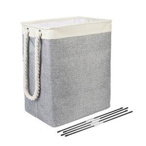 High Quality Foldable Laundry Basket Cotton Linen Square Basket Storage Basket Fiberglass Tube Support Cotton Rope Handle A20001(China)