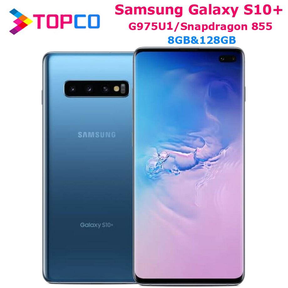 "Samsung Galaxy S10 + S10 Plus G975U 128GB G975U1 Entsperrt Handy Snapdragon 855 Octa Core 6.4 ""16MP & Dual 12MP 8GB RAM NFC"