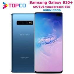 Samsung Galaxy S10 + S10 плюс G975U 128 ГБ G975U1 разблокирован мобильный телефон Snapdragon 855 Octa Core 6,4