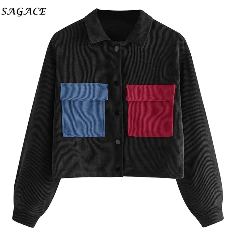 Sagace Clothes Women Sweatshirt Hooded Short Contrast Tape Print Side Corduroy Sweatshirt Spring Autumn Long Sleeve Sweatshirt