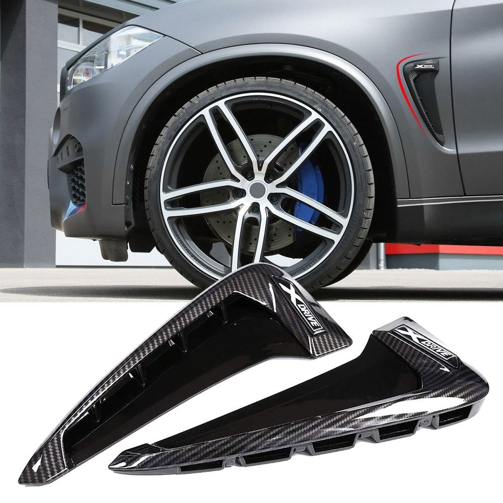 Autobro ABS Xdrive Carbon Fiber Shark Gills Side Decoration Fender Vent Trim For BMW X5 F15 X5M F85 14-17-Carbon Black X5M