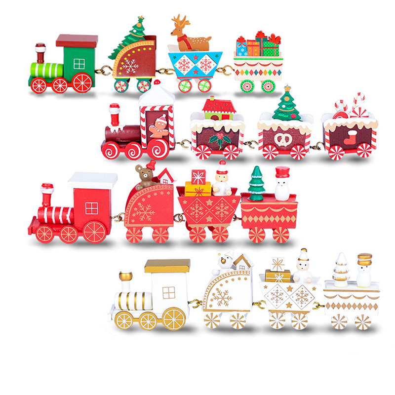 New Christmas Wooden Train Kid Toys Painted Christmas Decoration Home Santa/bear Xmas Gift Ornament Navidad Toys For Children