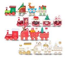 ใหม่คริสต์มาสรถไฟไม้ของเล่นเด็กทาสีคริสต์มาสตกแต่ง Santa/bear Xmas ของขวัญเครื่องประดับ navidad สำหรับของเล่นเด็ก