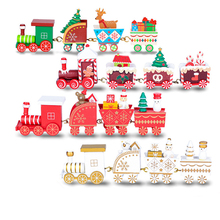 Tren de madera de navidad para niños, juguete pintado, decoración de navidad para el hogar, papá noel/oso, regalo de navidad, ornamento, juguetes de navidad para niños