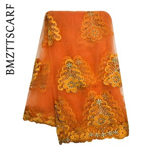 Image 5 - New African Women Scarf Good Quality Plain Embroidery with Stones Soft Net Scarf for Headscarf Wraps BM955