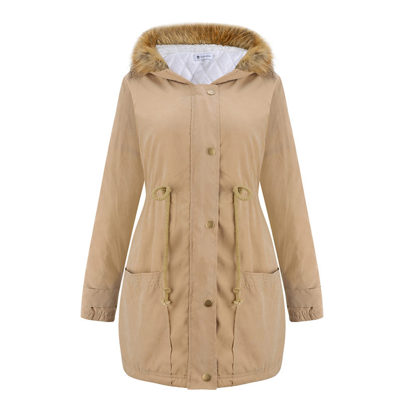 2019 Autumn and Winter Coat New Warm Loose Large Size Hooded Drawstring Waist Fur Collar Overcoat For Women   Basic     Jacket   f1598