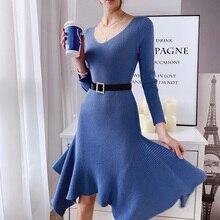 Женское трикотажное платье средней длины Dabuwawa, осенне зимнее асимметричное платье с v образным вырезом и длинным рукавом, D18DDR018