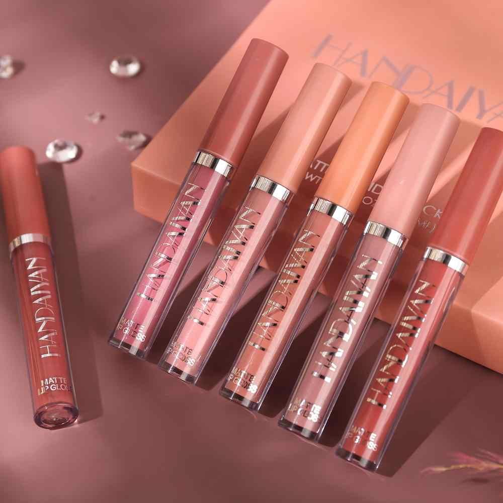 HANDAIYAN 6 Colori/Set di Moda Liquido Rossetto Lipgloss Set Idratante Naturale di Velluto Impermeabile Lucidalabbra Contenitore di Regalo