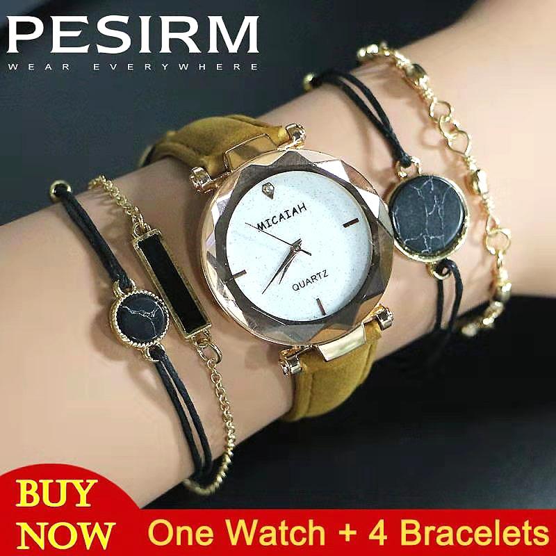 5PCS Starry Sky Bracelets Women Wirst Watch Luxury Stainless Steel Women Watches Starry Sky Female Clock часы
