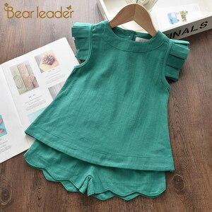 Bear Leader/комплект одежды для девочек, лето 2020, Новая повседневная детская однотонная одежда, жилет и штаны, комплект из 2 предметов, костюмы для...