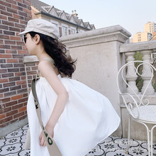 2020 summer new girls tube top halter dress fairy dress solid color swing skirt foreign style