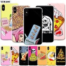 YIMAOC Pizza Liebe Telefon Fall für iPhone 11 Pro XS X XR Max 8 7 6 6S Plus SE 5S