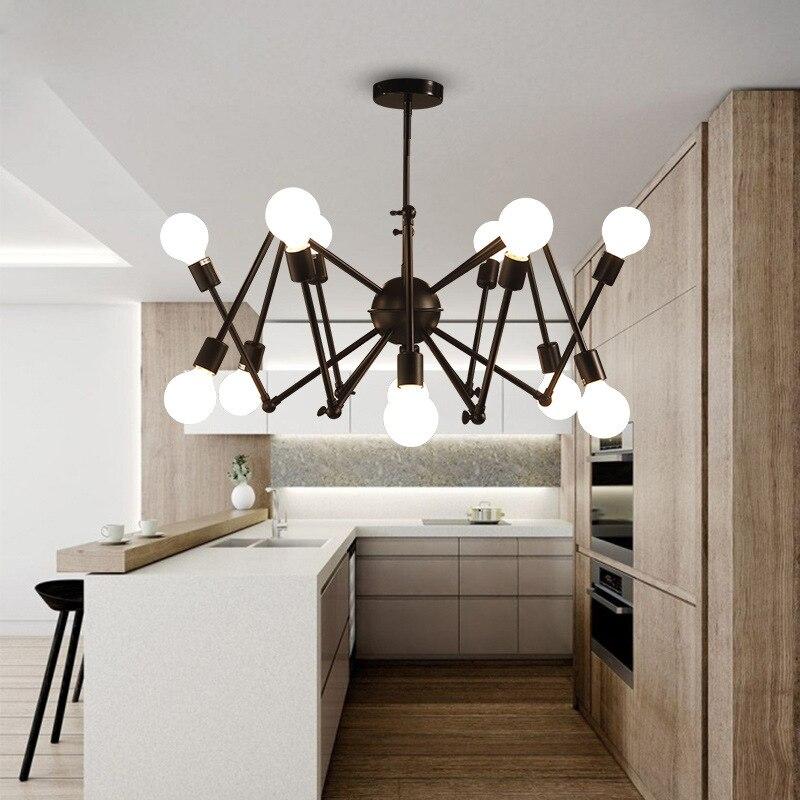 Mordern Ретро подвесные лампы lustre industriel Железный Лофт античный DIY паук гостиная подвесной светильник светильники WJ122730