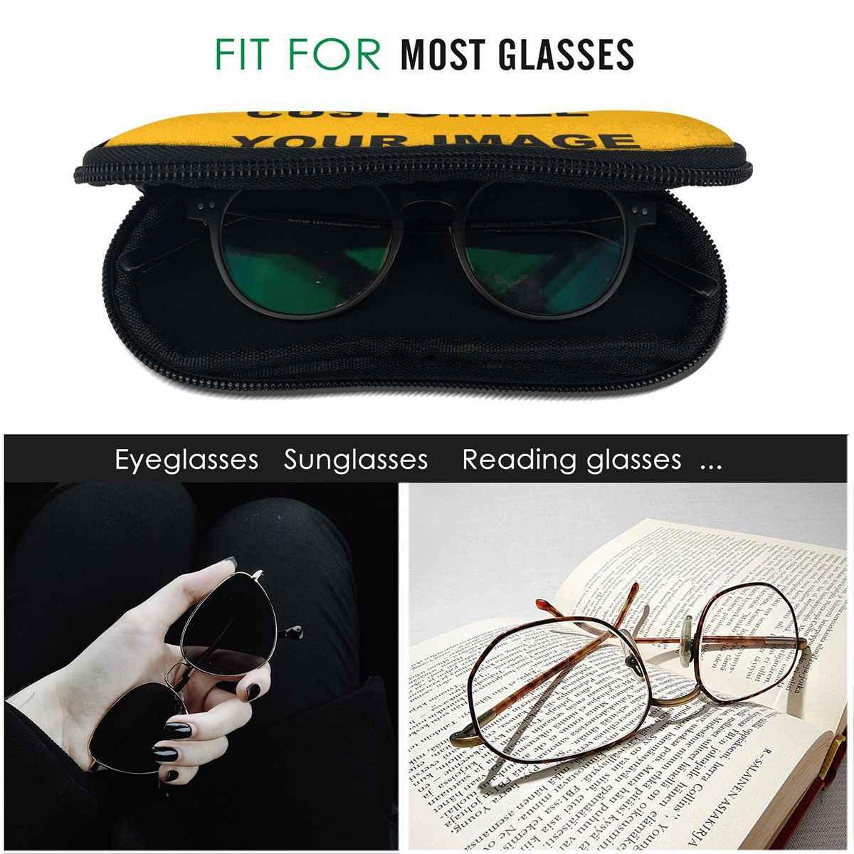 NOISYDESIGNS בציר נשים גברים ילדים משקפיים מקרה אישית תמונת שלך לוגו משקפי שמש משקפי מגן תיק Funda Gafas